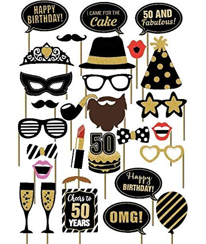 SWYOUN 29PCS 50th Fiftieth Year Birthday Party Supplies Masks Favor Photo Booth Props