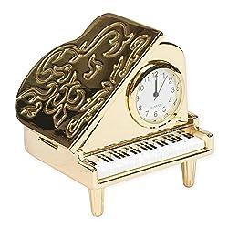Grand Piano Miniature Replica Gold Tone 2 x 2.25 Resin Stone Tabletop Clock