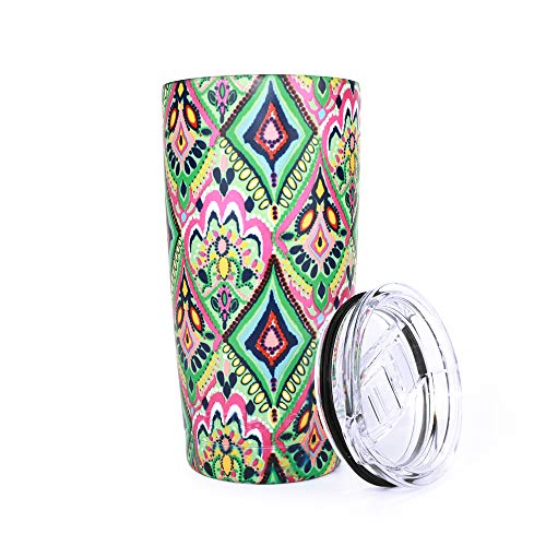 Pandaria 20 oz Stainless Steel Vacuum Insulated Tumbler with Lid - Double Wall Travel Mug Water Coffee Cup for Ice Drink & Hot Beverage, Bohemia