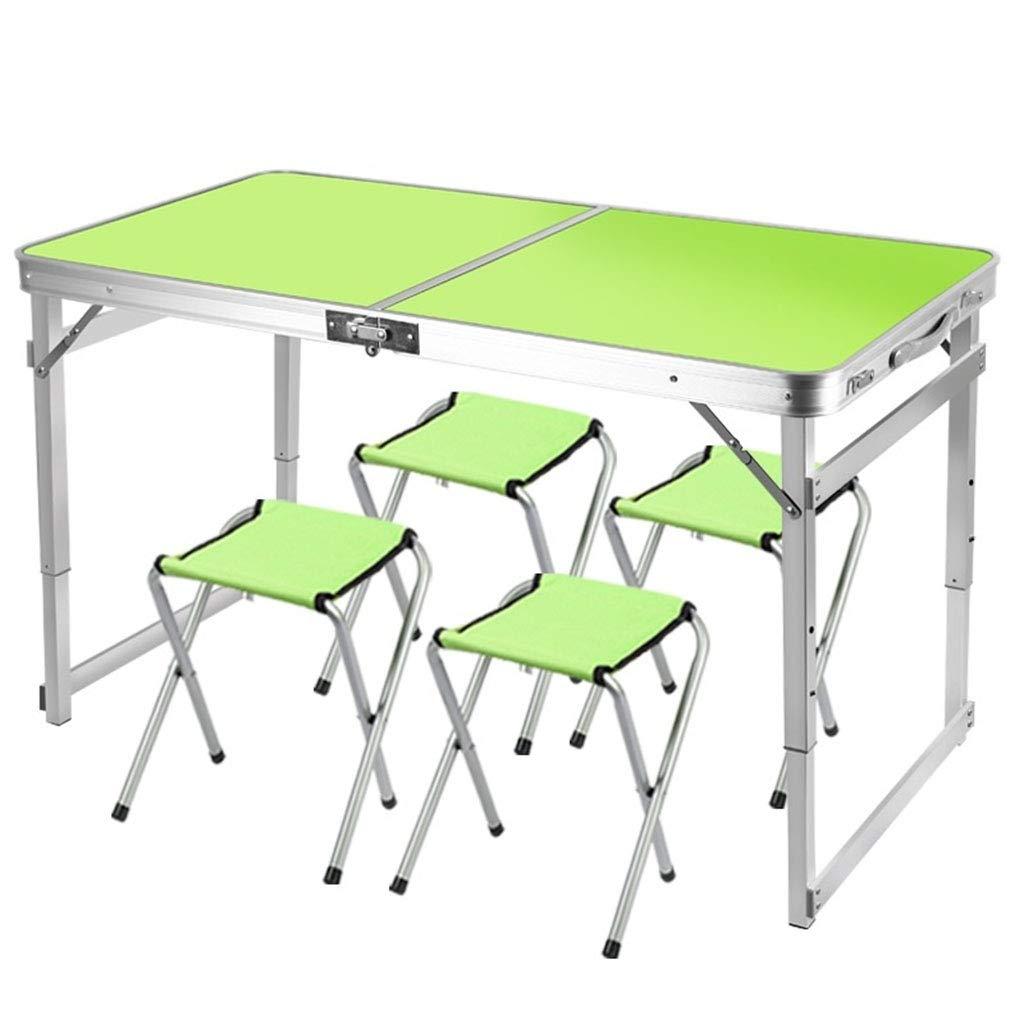 折りたたみピクニックテーブル、屋外用の適切な4つのスツールが付いている携帯用軽量アルミニウム高さ調節可能な作業台、ハイキング、キャンプ、バーベキュー B07S84MYQY Green