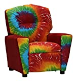 Tie Dyed Solid Red Suede Kids Recliner 644368