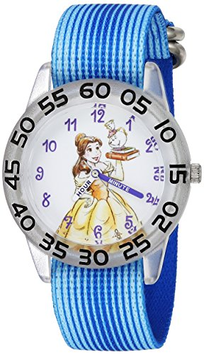Disney Girl's 'Princess Belle' Quartz Plastic and Nylon Casual Watch, Color:Blue (Model: WDS000220)