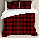 Plaid Duvet Cover Set King Size by Lunarable, Ancient Scottish Tartan with Traditional Colors Vintage Country Style, Decorative 3 Piece Bedding Set with 2 Pillow Shams, Ruby Mustard Dark Brown