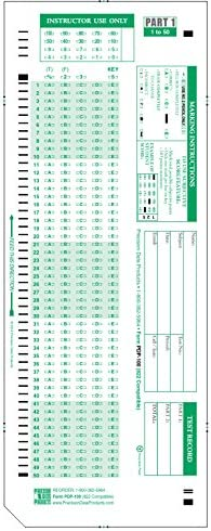 882 E Compatible Testing Forms 50 Sheet Pack SCANTEST-100