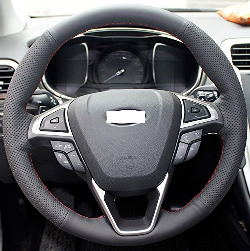 Hand Sewing Black Genuine Leather Steering Wheel Cover For