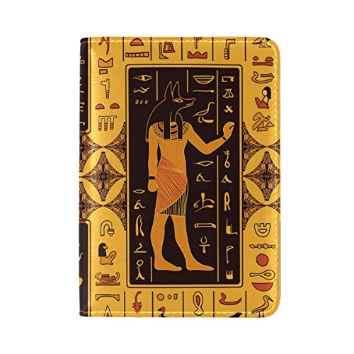 Egyptian Decor Leather Passport Cover - Holder - for Men & Women - Passport (Beetle Costume Uk)
