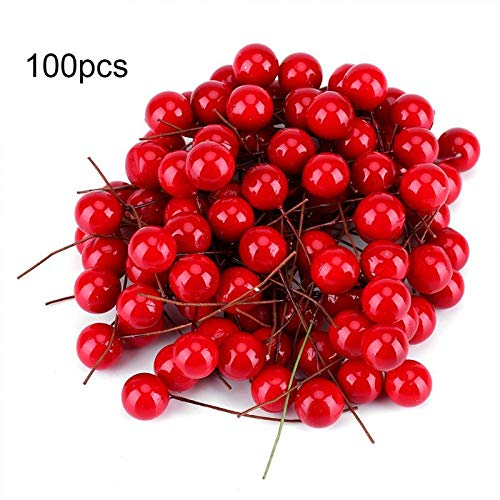 ZSSD 100Pcs Artificial Red Holly Berry Christmas DIY Home Garden Decorations Christmas Supplies Red from ZSSD