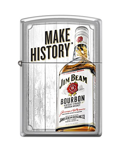 (Zippo Jim Beam Bottle and Make History Brushed Chrome Pocket Lighter)