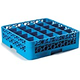 """Carlisle RG25-114 OptiClean Polypropylene 25-Compartment Glass Rack with 1 Extender, 5.56"""" x 19.75"""" x 19.75"""", Blue (Case of 4)"""