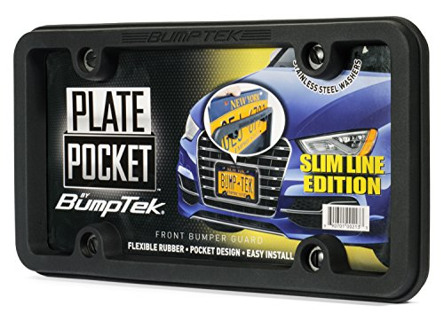 BumpTEK Plate Pocket (Slim LINE Edition) Flexible Rubber Front Bumper Guard, Front Bumper Protection, License Plate Frame. Flexible Rubber Cushions Parking - Pocket Slide Front