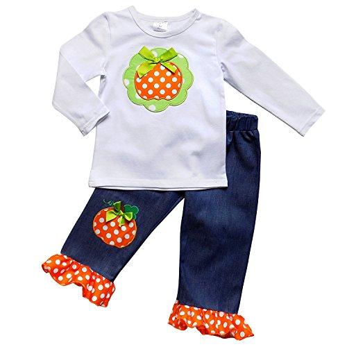 Girls 2 Piece Halloween Outfit - So Sydney Girls Halloween Pumpkin, Candy, or Cat - 2 Piece Ruffle Pants Outfit (S (3T), Denim Pumpkin Patch)