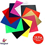 HTV Heat Transfer Vinyl Bundle 12'' x 10'', 12 Pack of Assorted Color Vinyl Sheets, Iron on T-Shirts Hats Clothing for Silhouette Cameo Cricut Press Machine Tool