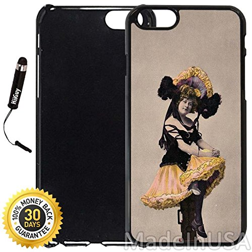 Custom iPhone 6 Plus/6S Plus Case (Victorian Bon Bon Girl) Edge-to-Edge Plastic Black Cover with Shock and Scratch Protection | Lightweight, Ultra-Slim | Includes Stylus Pen by INNOSUB