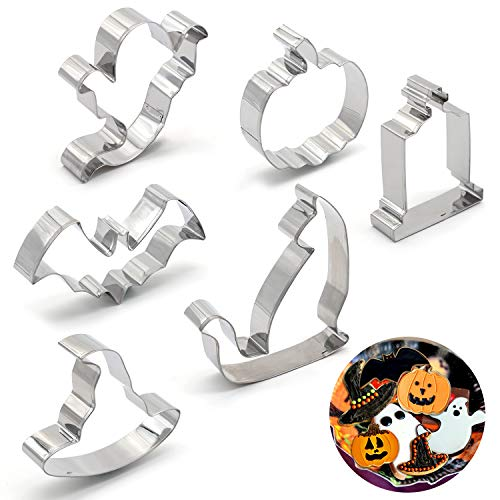 Halloween Cat Cookies (Halloween Trick or Treat Cookie Cutters - Pumpkin,Witch Hat, Bat,Ghost,Cat,Tombstone Party)