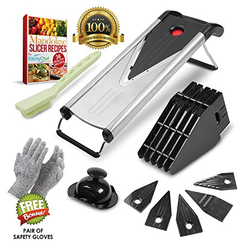 Mandoline Vegetable Slicer w/ 6 Blades - Cutter and Julienne, Food Hand Chopper, Cheese Grater Stainless Steel. Cut Resistant Gloves, 12 Piece Set.