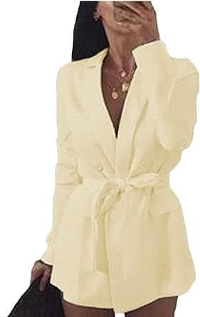 omniscient Womens Long Sleeves Coats Cardigan Office Work Blazers with Belt