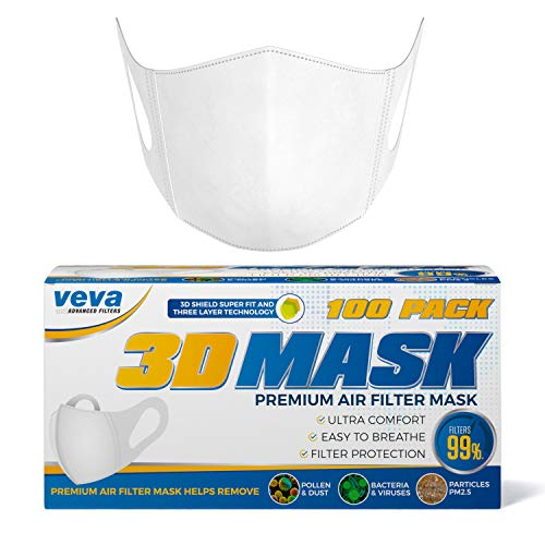VEVA Premium 3D Face Mask 100 Pack - More Comfortable Protection from Dust, Pollen, Bacteria, and Virus Carrying Particles, with Soft Stretchable Earloops by VEVA Advanced Filters