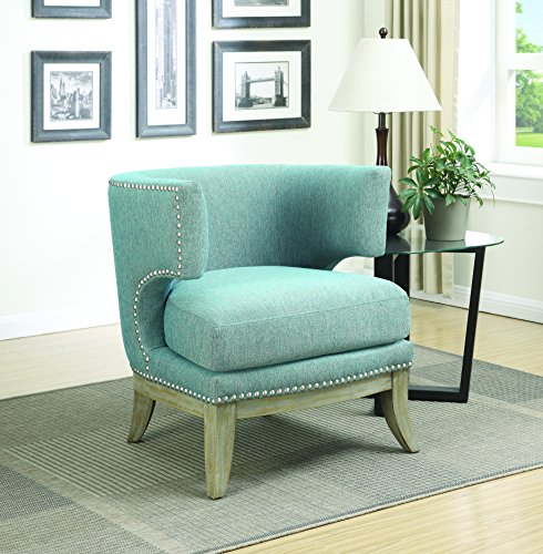 Coaster Home Furnishings Accent Chair with Barrel Back Blue and Weathered Grey (Sleeper Chair Lane Twin)