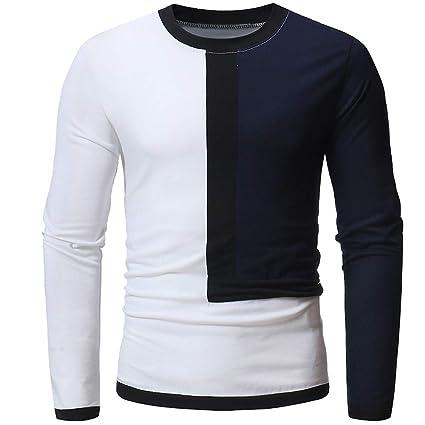 WWricotta Camisetas Deportivas para Hombre de Manga Larga Camisa Casual Originales Color de Mezcla Poleras Polo