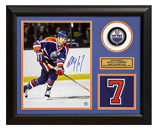 - AJ Sports World Paul Coffey Edmonton Oilers Signed Retired Jersey Number 23x19 Frame