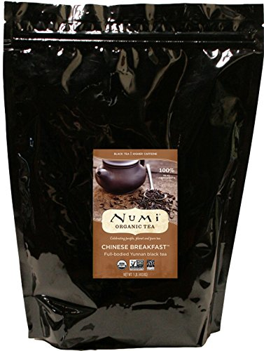 Numi Organic Tea Chinese Breakfast, 1 Lb Pouch, Loose Leaf Black Tea in Bulk Pouch, Yunnan Black Tea, Premium Organic Fair Trade Black Tea, Enjoy Hot or Iced
