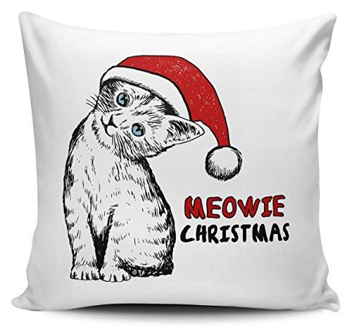 CarterIsaac Meowie Christmas Cat Sketch Cute Cushion Pillow w/Inner/Insert (Meowie Christmas Cat)