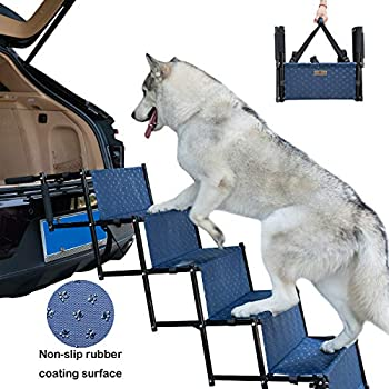 YEPHHO 5 Steps Upgraded Folding Pet Stairs Ramp Lightweight Portable Dog Cat Ladder with Waterproof Surface Great for Cars Trucks SUVs(Navy)