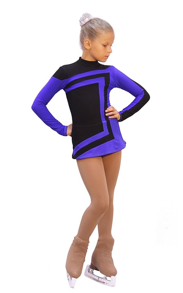 IceDress - Figure Skating Dress - Avangard (Black with Cornflower)(CXL)