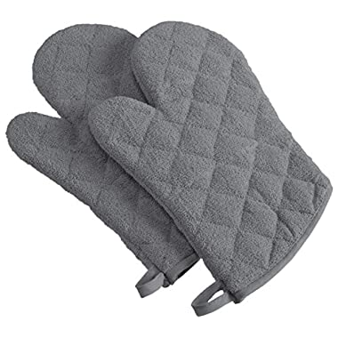 DII 100% Cotton, Machine Washable, Heat Resistant, Everyday Kitchen Basic, Terry Oven Mitt, 7 x 13 , Set of 2, Gray