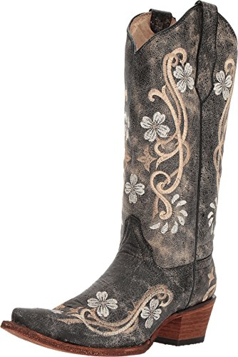Circle G Women's Floral Embroidered Cowgirl Boot Snip Toe Brown 6.5 M US