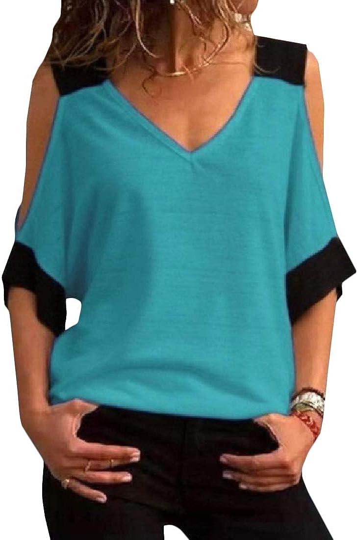 CMCYY Womens Basic Cold Shoulder Tee Short Sleeve V-Neck Top T-Shirts