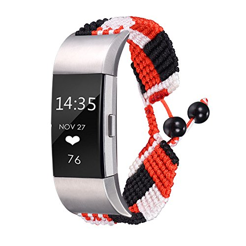 Bandmax Compatible Fitbit Charge 2 Bands Tricolor Twill, Women Knit Nylon Bracelet Watch Strap Replacement Bands Accessories Mix Flexible Drawstring Clasp Compatible Fitbit Charge 2