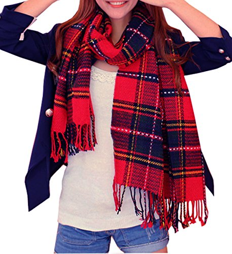 (Wander Agio Womens Scarves Warm Shawl Wraps Wool Spinning Large Scarf Plaid Scarf Red Blue)