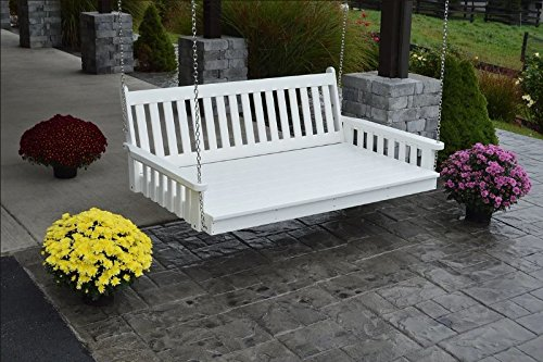 A&L Furniture 5' Amish-Made Poly Traditional English Swing Bed, White
