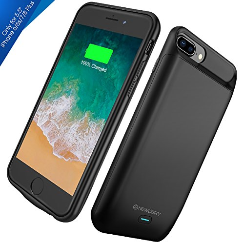 "iPhone 8 Plus / 7 Plus / 6s Plus Battery Case, Upgraded Newdery Protective External Power Charger Cover Case for 5.5"" iPhone 6S / 7 / 8 Plus Supported Lightning Headphones--Black"