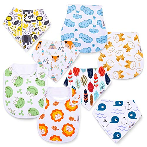TUMAMA 8 Pack Baby Bibs & Burp Cloths Set, Super Soft and Absorbent Feeder Bib for Boys & Girls, Teething, Drooling, Feeding ()