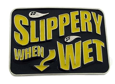 Letter Love Fashion Slippery When Wet Funny Bar Joke Humorous Belt Buckle Hebilla Boucle De (Hebillas De Rodeo)