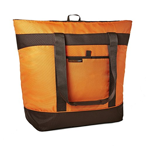 Rachael Ray Jumbo ChillOut Thermal Tote, XL Insulated Bag for Grocery Shopping/Entertaining, Transport Hot and Cold Food, Orange