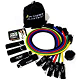 Resistance Bands - Includes Carry Case - Premium Quality - For Weights Exercise, Fitness Workout - Anti Snap Heavy Resistant Tension Tube Band Set with Door Anchor Attachment and Legs Ankle Straps