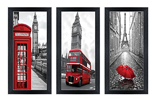 Yiijeah Canvas Wall Art with Black Frames Black and White Red Paris Landscape Picture Print on Canvas for Photo Wall Display Photograph Decor Living Room Bedroom Bathroom Decoration 6x12in 3 Panels