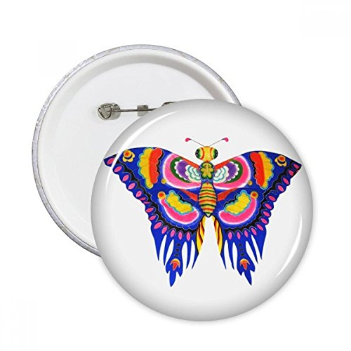 Kite Clothing Butterfly (Traditional Chinese Kite Butterfly Pattern Round Pins Badge Button Clothing Decoration 5pcs Gift)