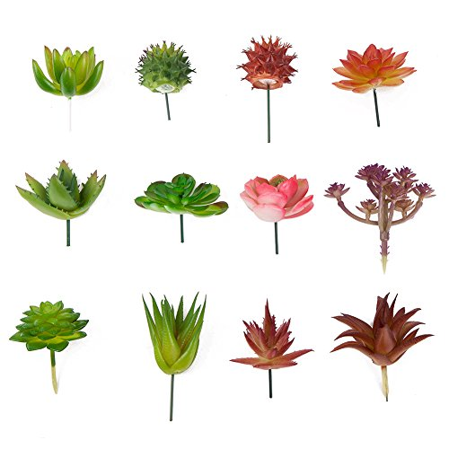 Seehoo Artificial Succulents, 12Pcs Faux Succulents for Fake Succulent Bouquet Floral Arrangement (Green &Red)