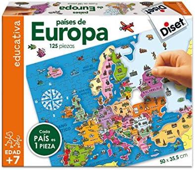 Diset Puzzle educativo para aprender los paises de Europa y sus caracteristicas: Amazon.es: Juguetes y juegos