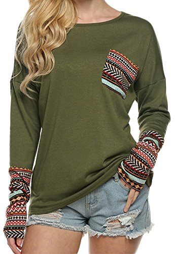 POGT Women Long Sleeve O-Neck Patchwork Casual Loose T-shirt Blouse Tops (XXL, Army Green)