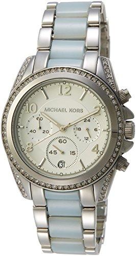 Michael Kors Women's Blair Watch, Silver/Chambray, One Size