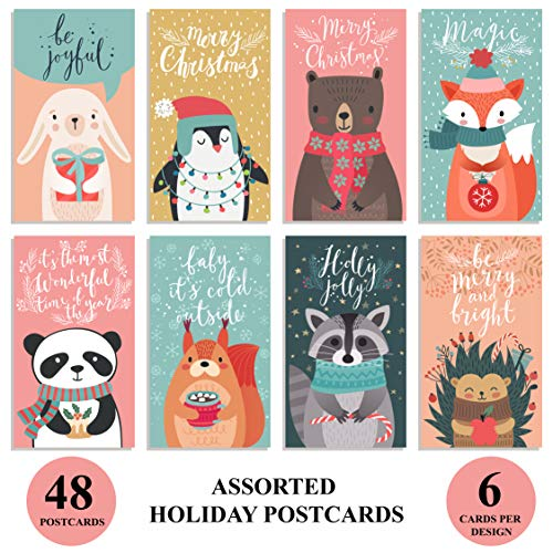 Happy Holiday Postcards / Christmas Postcards: Bulk Postcards Set Includes 48 Christmas Post Cards; 8 Different cute postcards designs (6 of each); Seasons Greeting Postcards; Happy New Year Postcards (Postcards 8 Christmas)