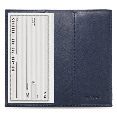 HISCOW Classy Standard Checkbook Cover with Free Divider - Italian Calfskin (Dark Blue)