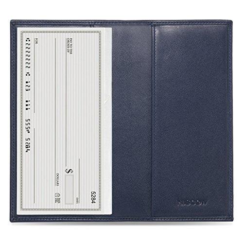 (HISCOW Minimalist Checkbook Cover - Full Grain Leather (Dark Blue))