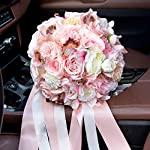 Abbie-Home-95-Artificial-Bride-Bouquet-Pink-Rose-Dahlia-Lily-Wedding-Flowers-with-Rhinestone-and-Ribbon-Dcor