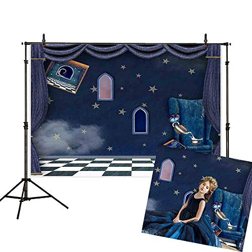 Allenjoy 7x5ft Princess Wonderland Castle Interior Backdrop Baby Shower Birthday Party Twinkle Stars Indoor Magic Window Sofa Books Photo Lattice Ground Photography - Bedroom Nocturne